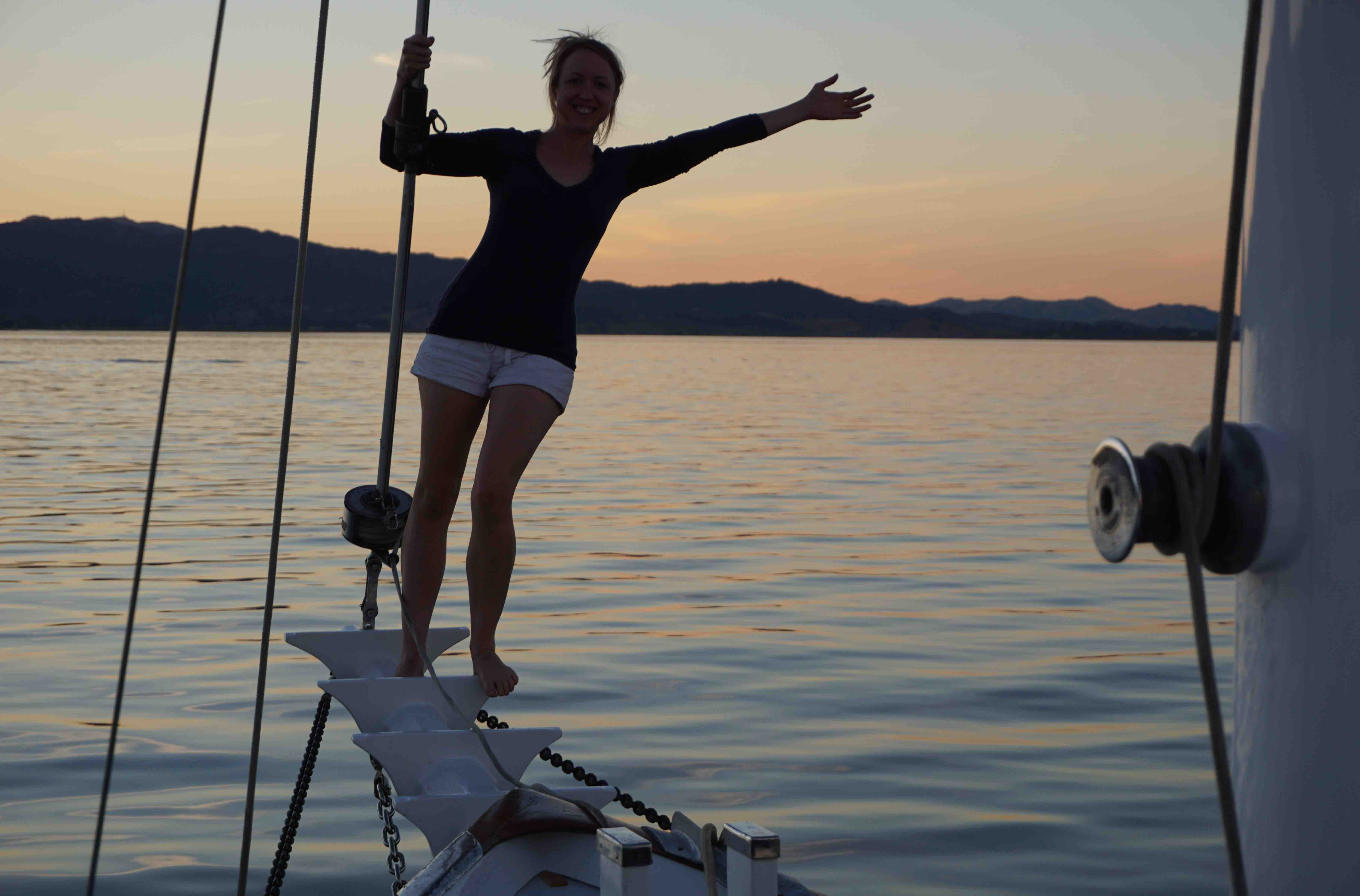 girl living on a sailboat