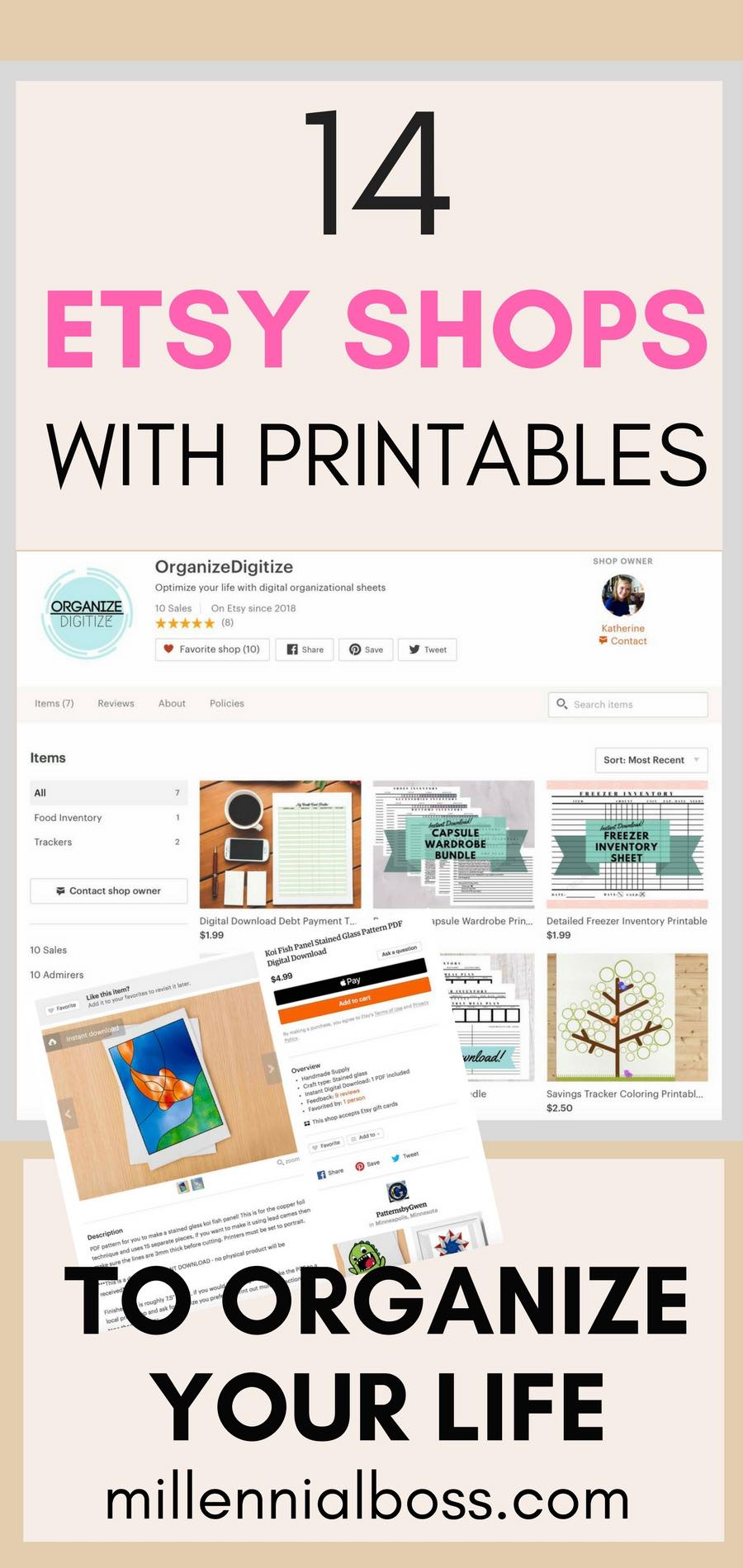 etsy shops with printables list
