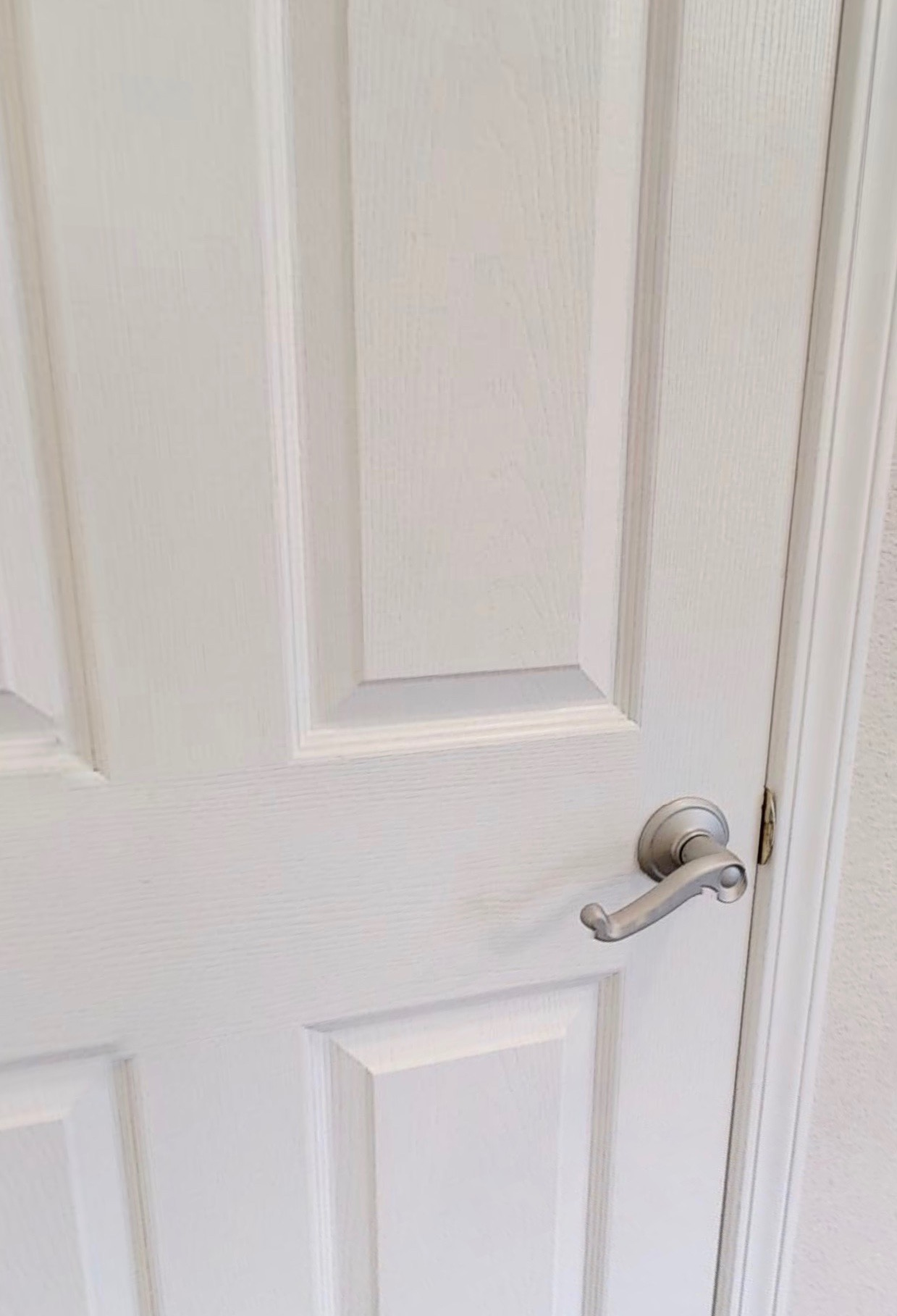 satin nickel spray painted door handle