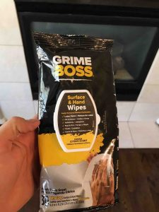 Grime boss wipes for fireplace makeover