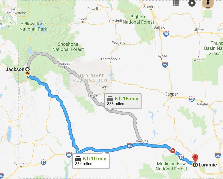 jackson Laramie road trip
