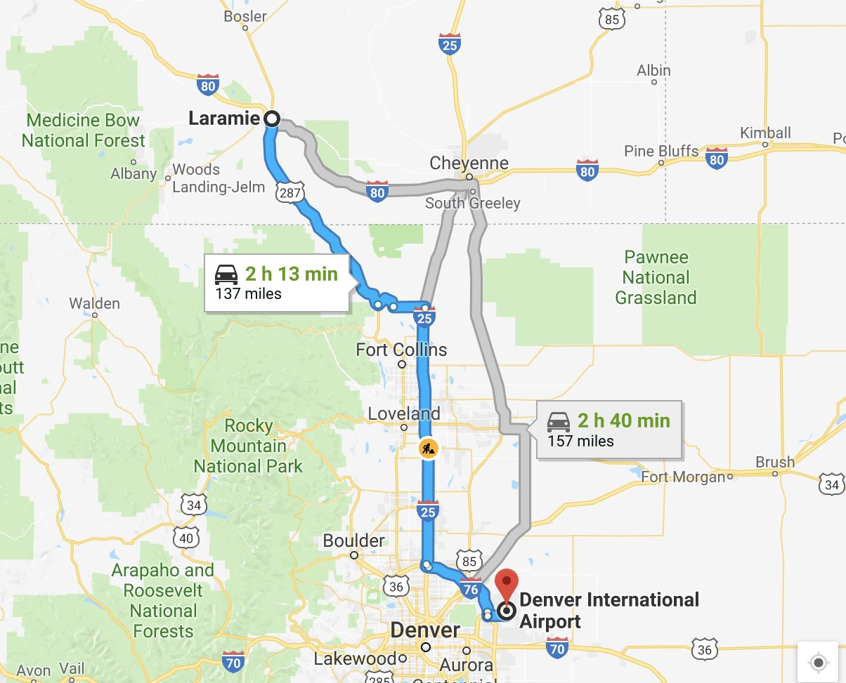 Laramie to Denver international airport