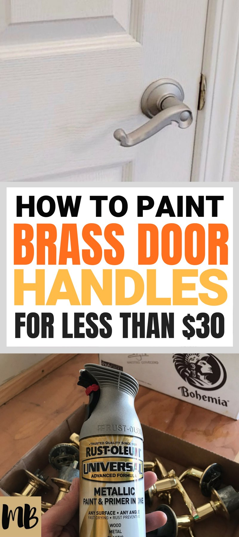 How I Painted my Brass Door Handles for less than $30