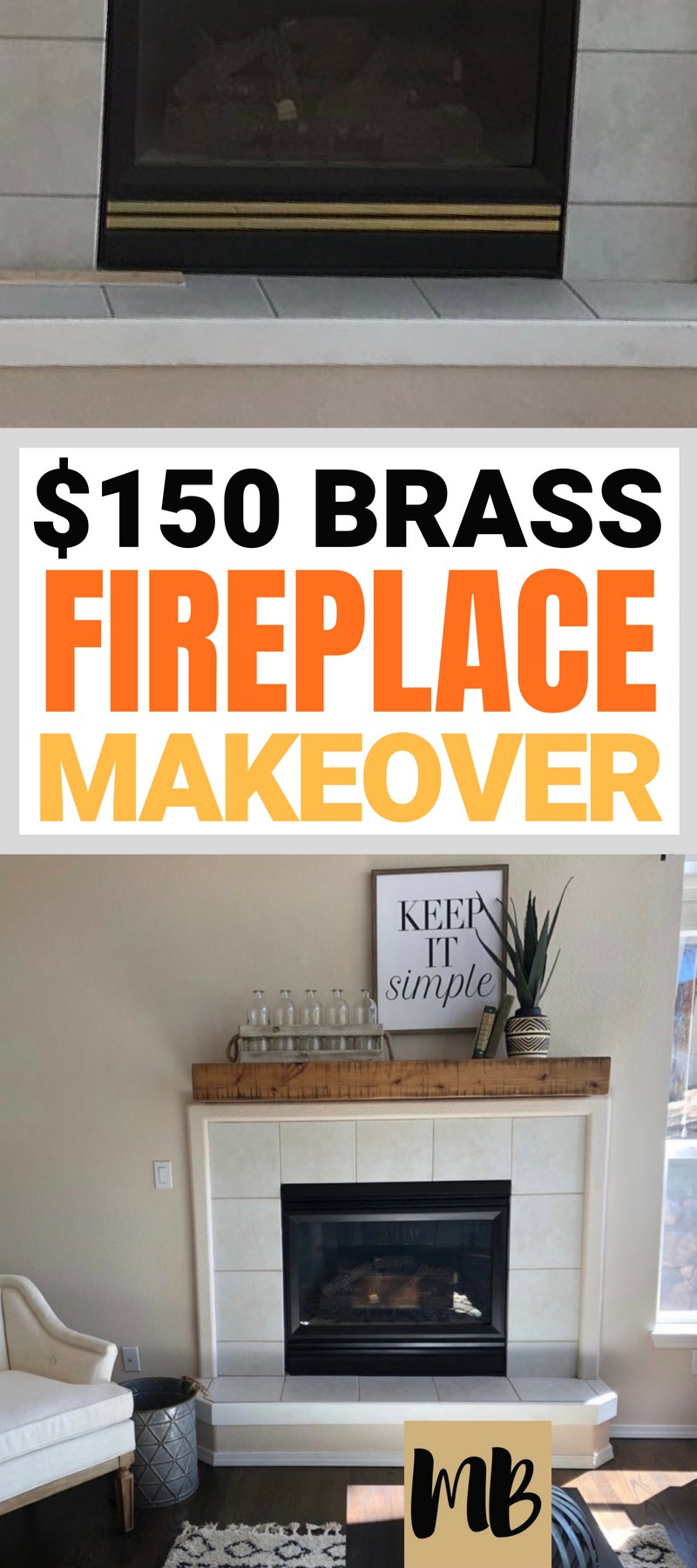 Brass fireplace makeover for under $150 | You can spray paint over brass fireplaces! | #diy #homedecor #fireplace #homemakeover