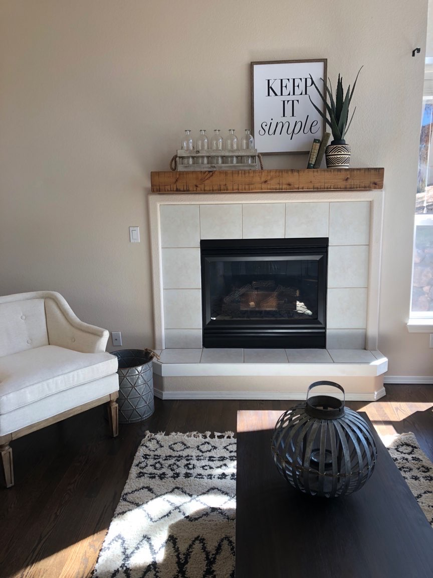 Tile brass fireplace makeover
