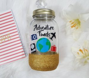 Travel Savings Jar Glitter Slit Top Millennial Boss
