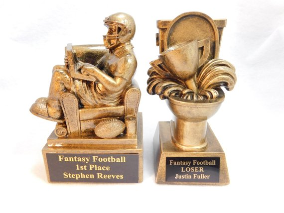 fantasy football trophies draft party winner loser