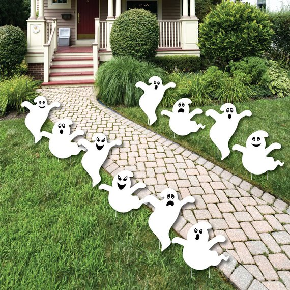 Ghost lawn decorations fall october yard