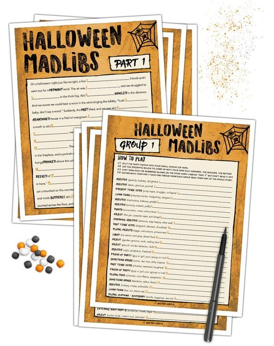 adult party games halloween mad libs
