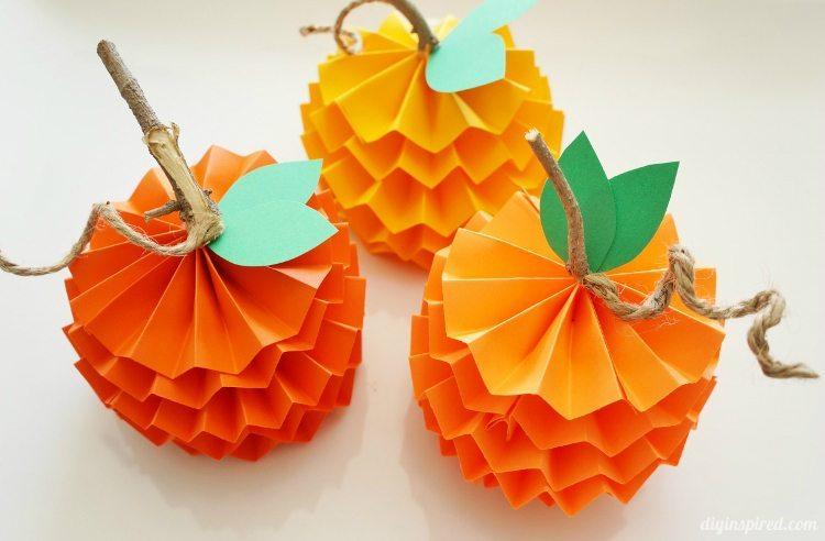 paper pumpkins diy crafts for kids easy cheap
