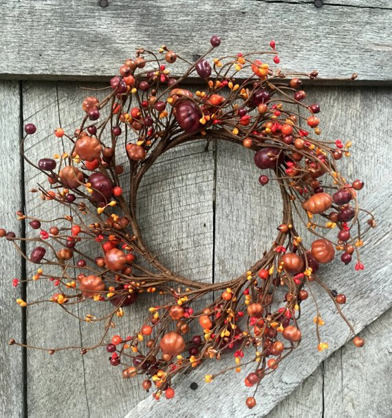 Pumpkin and Berry Front Door Wreath Cheap