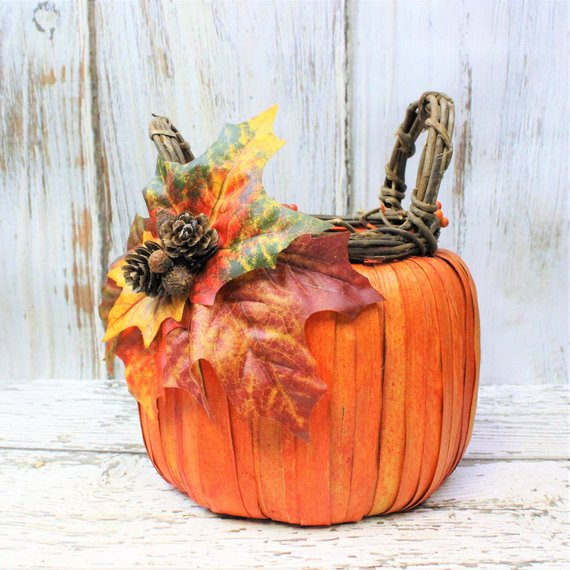 Rustic Fall pumpkin basket thanksgiving decor table cheap