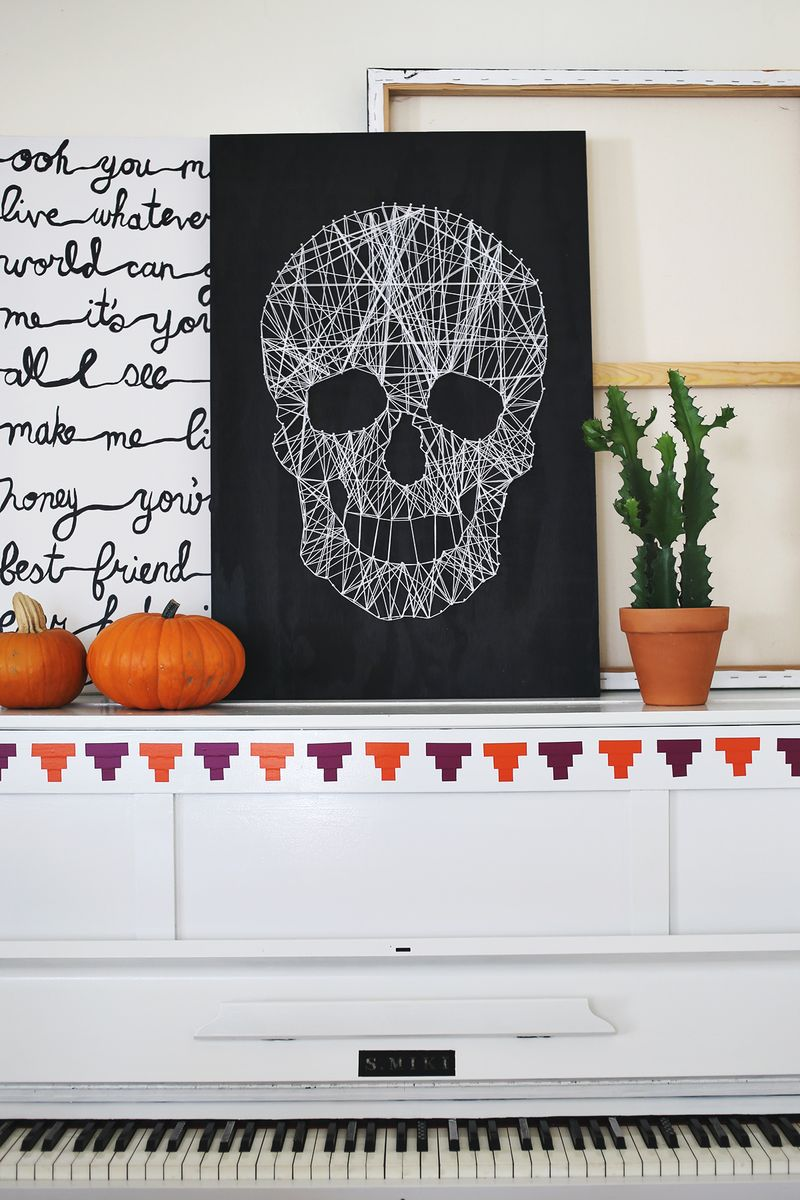 skull string art halloween diy decorations