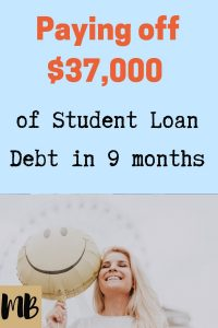 Paying off $37,000 of student loan debt in 9 months