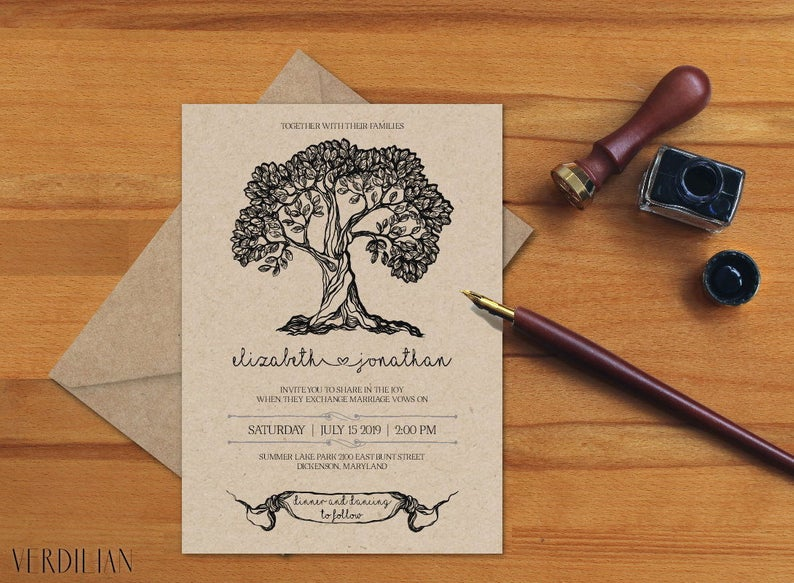 diy wedding invitations trees