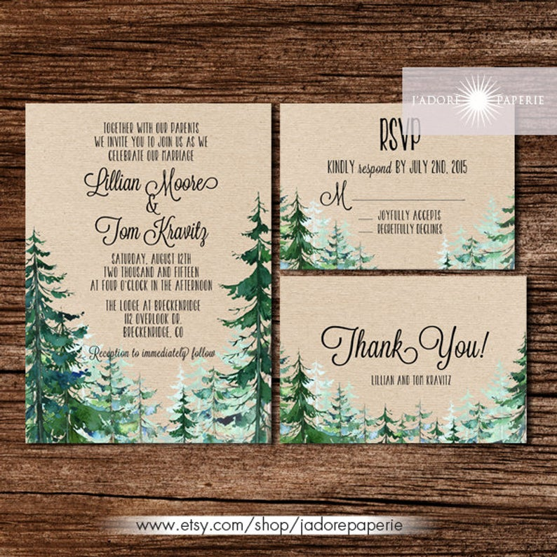 diy wedding invitations forest