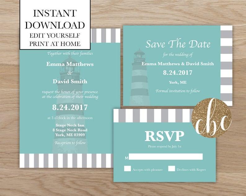 diy wedding invitations lighthouse