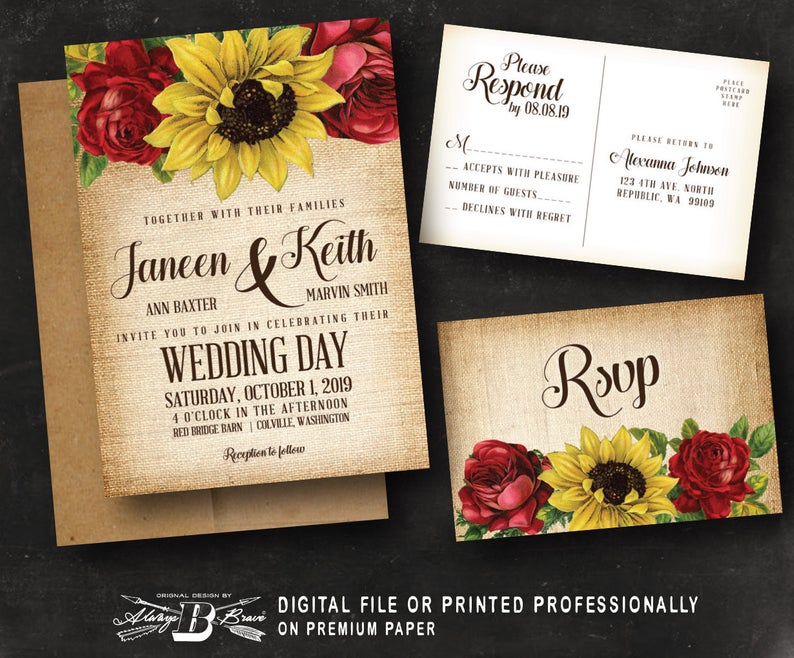 diy wedding invitations red rose