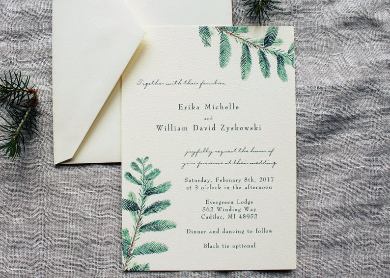 diy wedding invitations evergreen