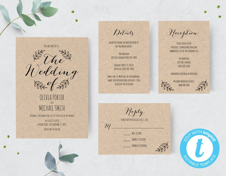 diy wedding invitations rustic