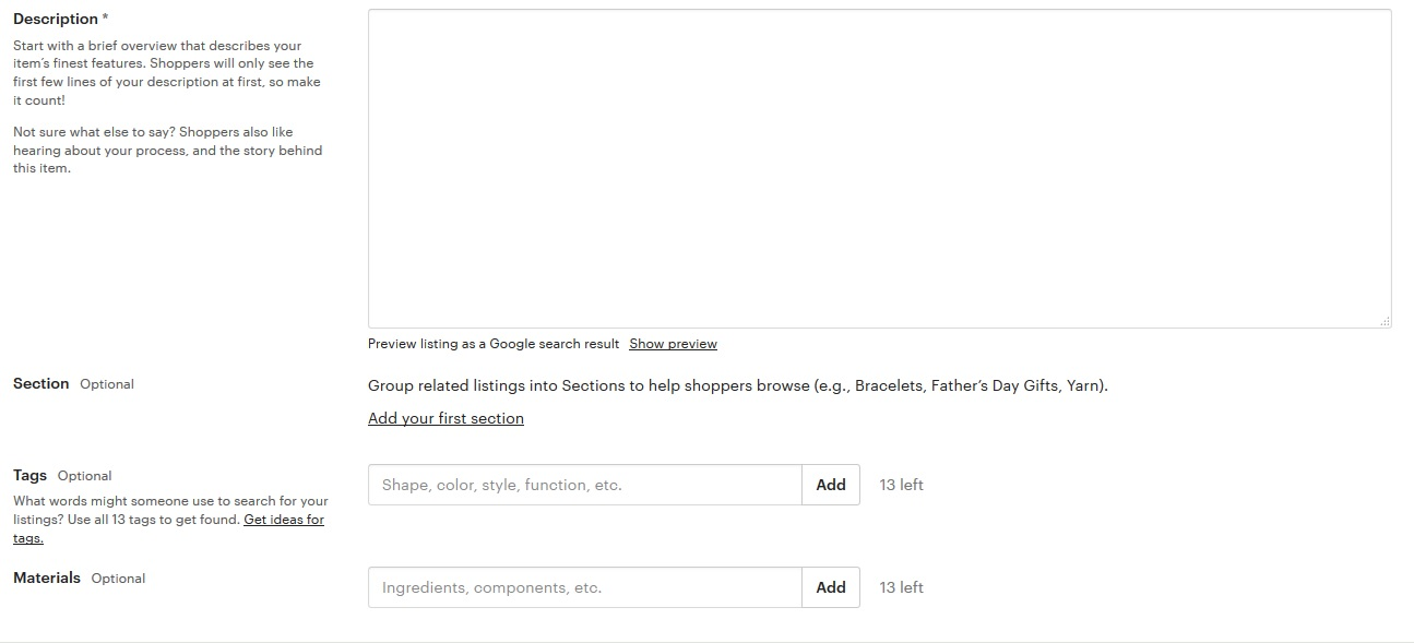 Etsy tagging helps with SEO important to ranking high in searches by buyers