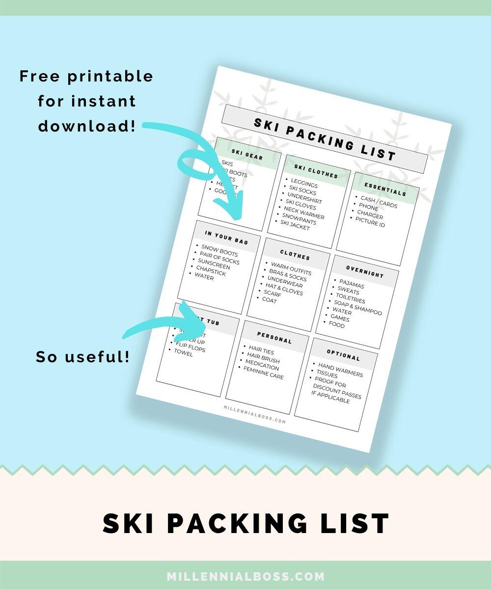 ski packing list printable