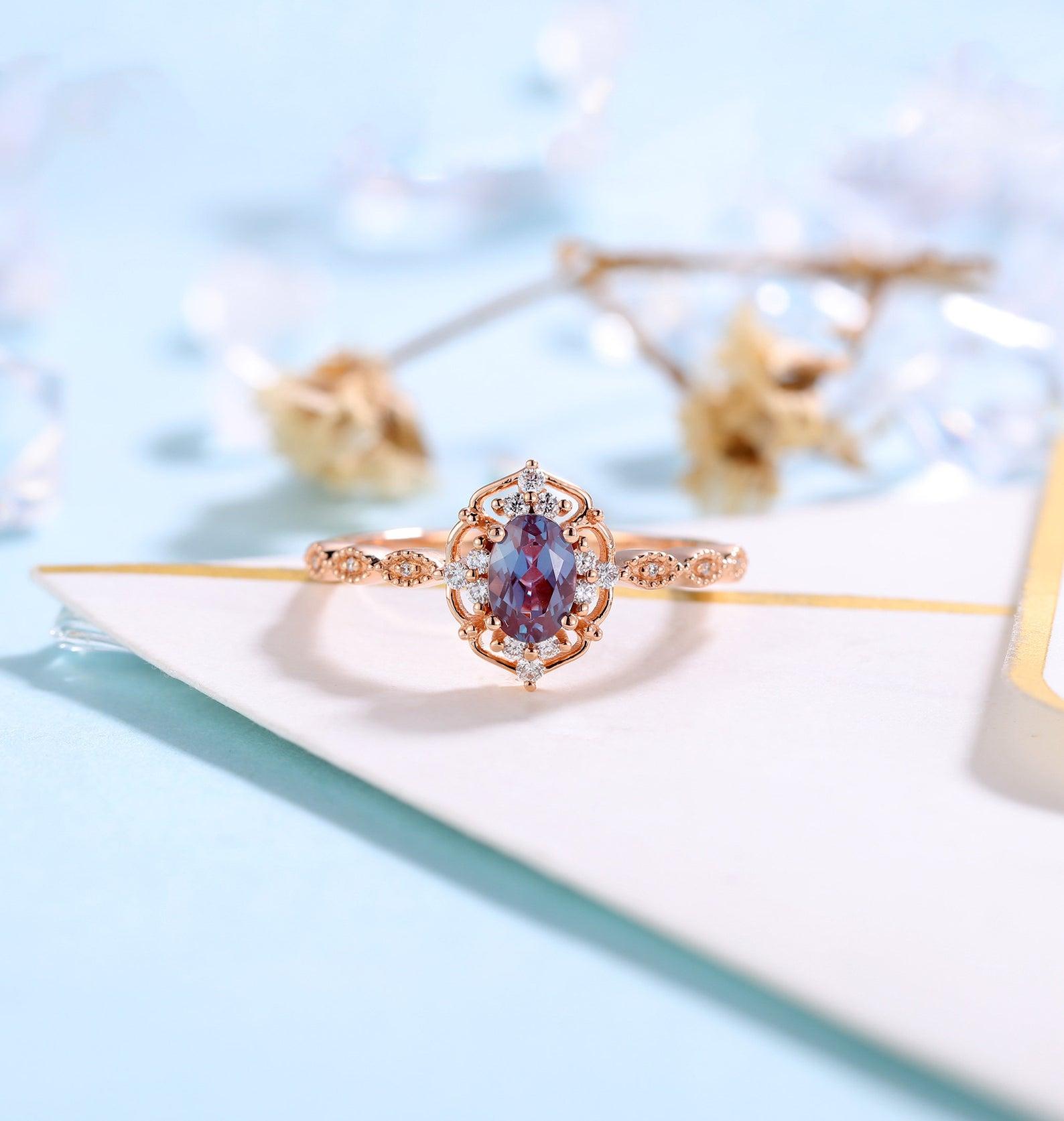 alternative engagement ring alexandrite