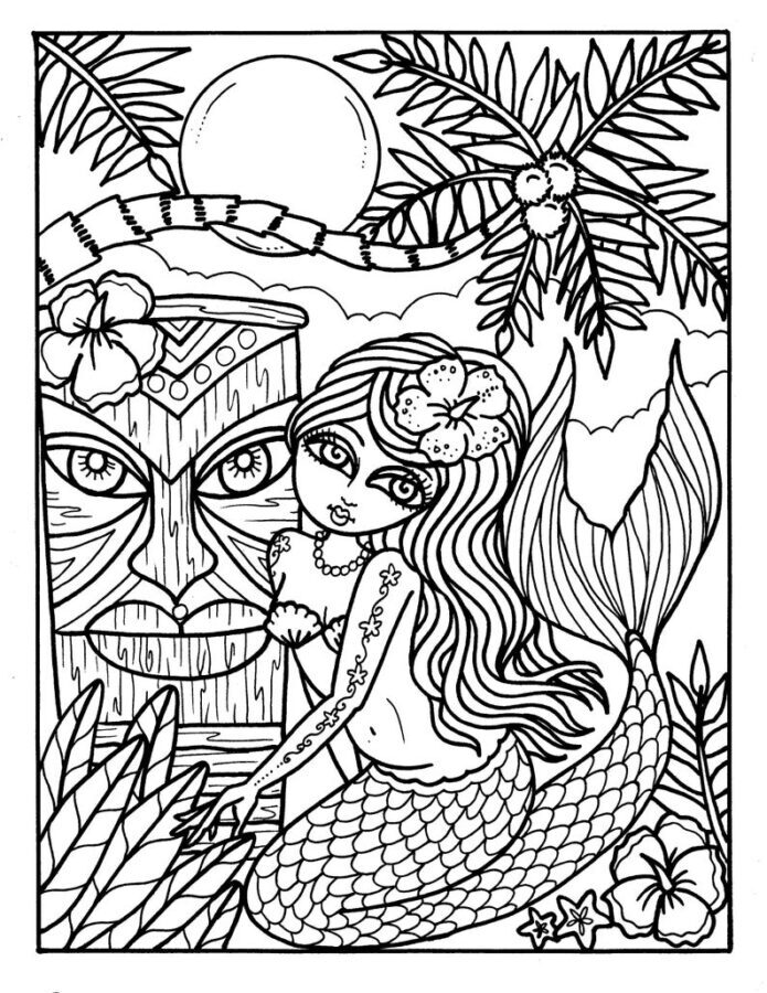 difficult mermaid coloring pages tropical