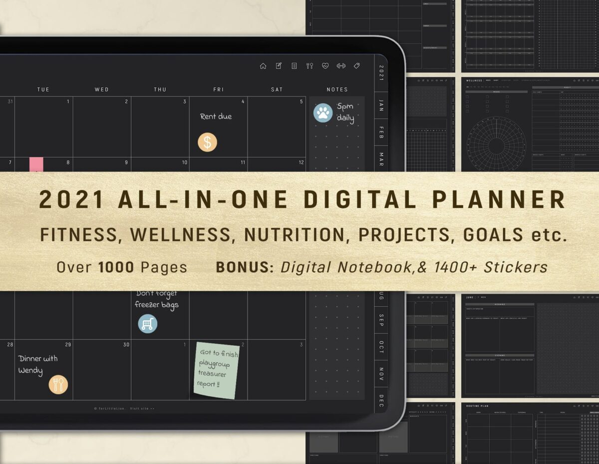 All in one digital planner weekly monthly daily annually dark mode