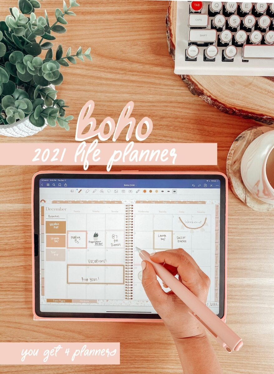 Boho life planner digital planner weekly monthly daily yearly 2021 downloadable etsy