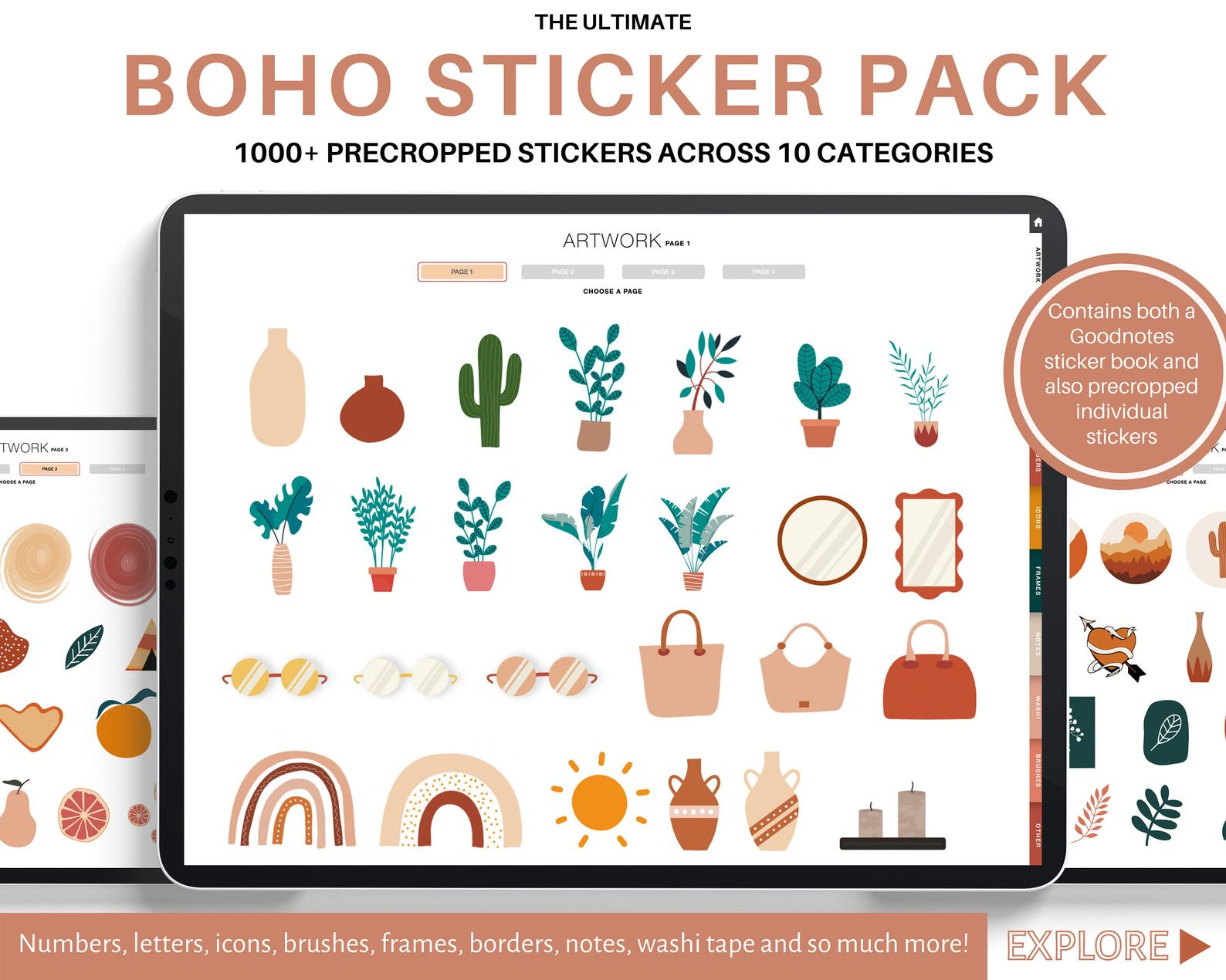 Boho stickers digital planner weekly daily monthly yearly 2021