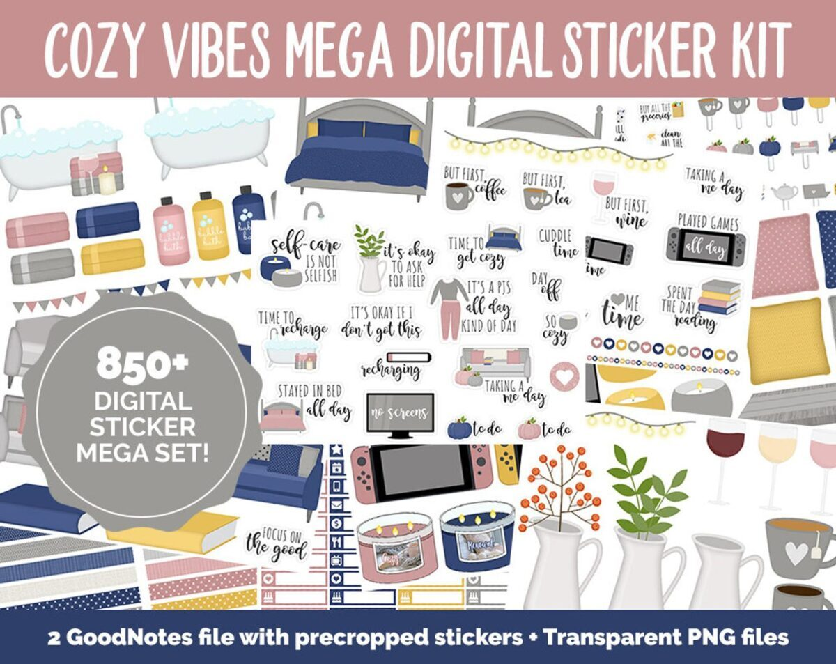 cozy mood digital sticker planner daily weekly monthly yearly 2021