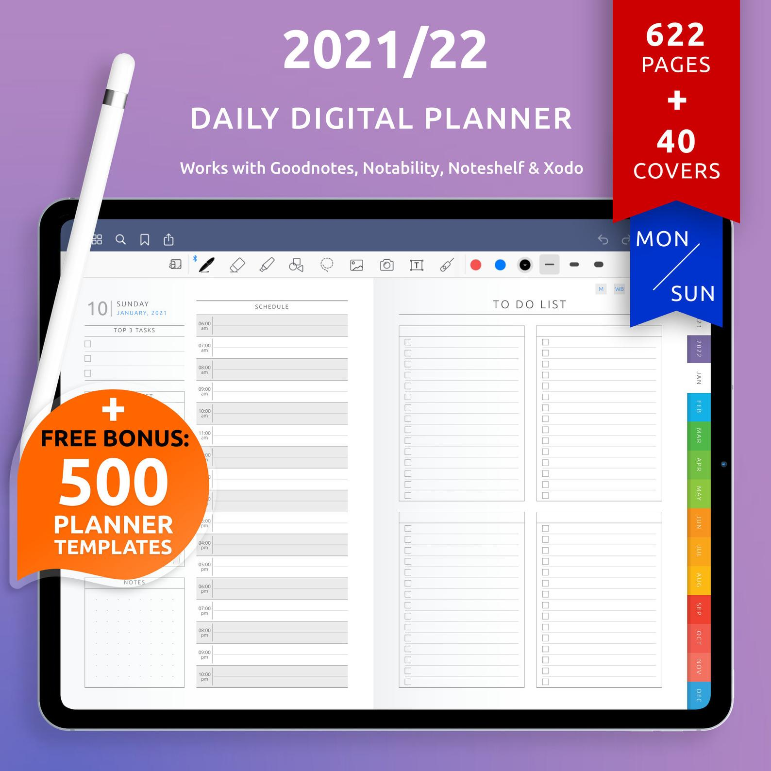 Daily digital planner to download etsy 2021
