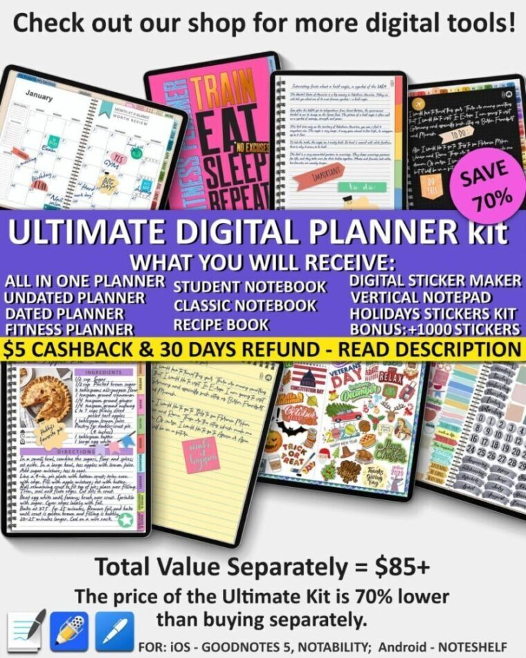 Digital planner monthly weekly yearly daily kit