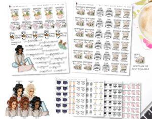 budget planning stickers savings bills finances