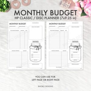 Budget planner monthly inserts printable downloadable savings expenses