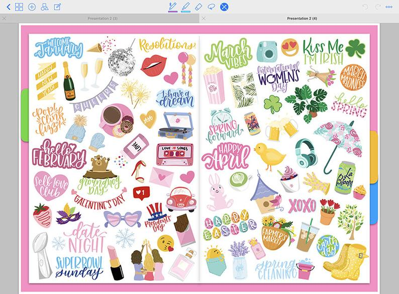 Holiday stickers digital planner daily weekly monthly yearly 2021