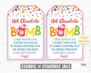 hot chocolate cocoa bombs tags gifts valentines day