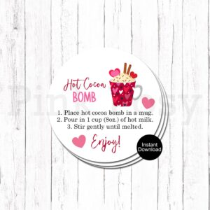 hot chocolate cocoa bomb tags gift valentines day