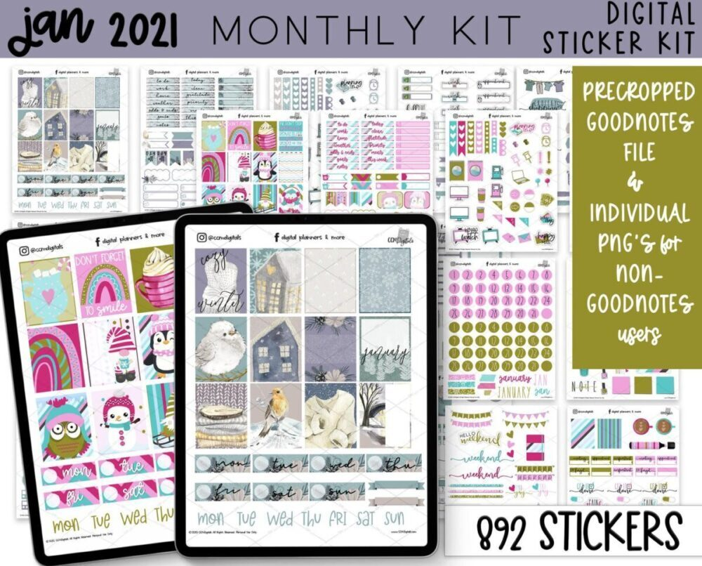 January digital sticker collection weekly monthly daily yearly 2021