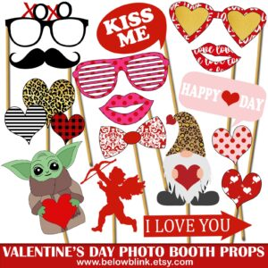 valentines day photo booth props printable gifts etsy last minute
