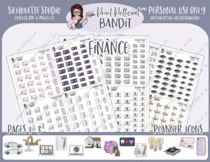 Printable downloadable stickers budget planner expenses finances savings bills