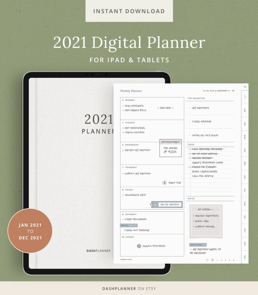 Simple digital planner daily weekly monthly yearly