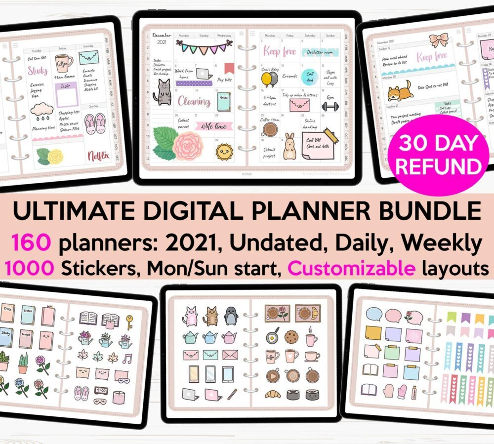 Ultimate digital planner monthly annually weekly daily 2021